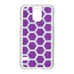 HEXAGON2 WHITE MARBLE & PURPLE DENIM Samsung Galaxy S5 Case (White) Front