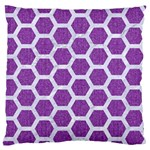 HEXAGON2 WHITE MARBLE & PURPLE DENIM Standard Flano Cushion Case (One Side) Front