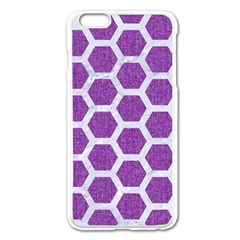 Hexagon2 White Marble & Purple Denim Apple Iphone 6 Plus/6s Plus Enamel White Case by trendistuff