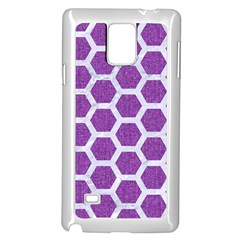 Hexagon2 White Marble & Purple Denim Samsung Galaxy Note 4 Case (white)
