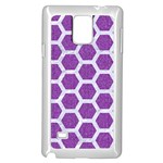HEXAGON2 WHITE MARBLE & PURPLE DENIM Samsung Galaxy Note 4 Case (White) Front