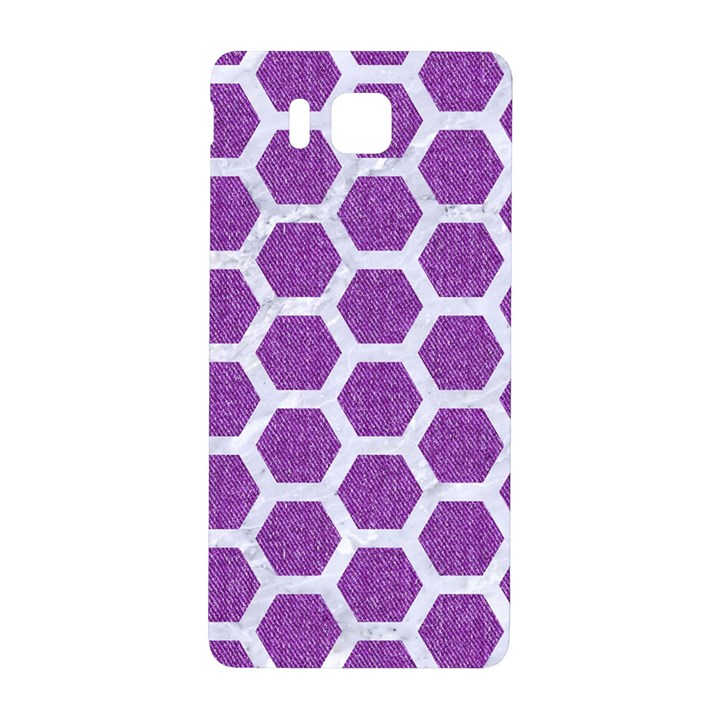HEXAGON2 WHITE MARBLE & PURPLE DENIM Samsung Galaxy Alpha Hardshell Back Case