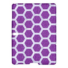 Hexagon2 White Marble & Purple Denim Samsung Galaxy Tab S (10 5 ) Hardshell Case