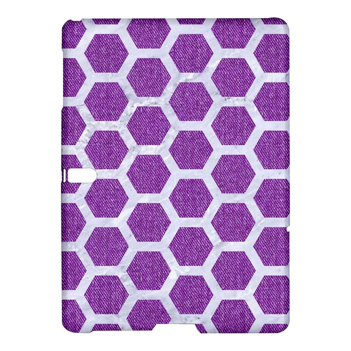HEXAGON2 WHITE MARBLE & PURPLE DENIM Samsung Galaxy Tab S (10.5 ) Hardshell Case