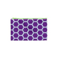 Hexagon2 White Marble & Purple Denim Cosmetic Bag (xs) by trendistuff