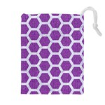 HEXAGON2 WHITE MARBLE & PURPLE DENIM Drawstring Pouches (Extra Large) Front