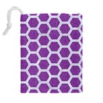 HEXAGON2 WHITE MARBLE & PURPLE DENIM Drawstring Pouches (Extra Large) Back