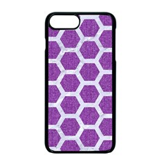 Hexagon2 White Marble & Purple Denim Apple Iphone 7 Plus Seamless Case (black) by trendistuff