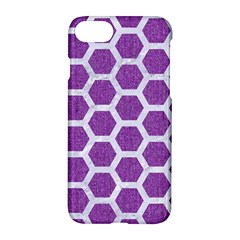 Hexagon2 White Marble & Purple Denim Apple Iphone 8 Hardshell Case by trendistuff