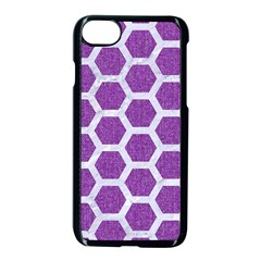 Hexagon2 White Marble & Purple Denim Apple Iphone 8 Seamless Case (black) by trendistuff