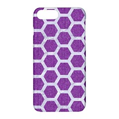 Hexagon2 White Marble & Purple Denim Apple Iphone 8 Plus Hardshell Case by trendistuff