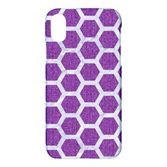Hexagon2 White Marble & Purple Denim Apple Iphone X Hardshell Case by trendistuff