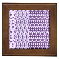 Hexagon1 White Marble & Purple Denim (r) Framed Tiles