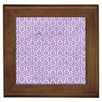 HEXAGON1 WHITE MARBLE & PURPLE DENIM (R) Framed Tiles Front
