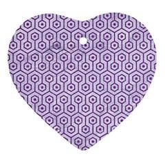 HEXAGON1 WHITE MARBLE & PURPLE DENIM (R) Ornament (Heart)