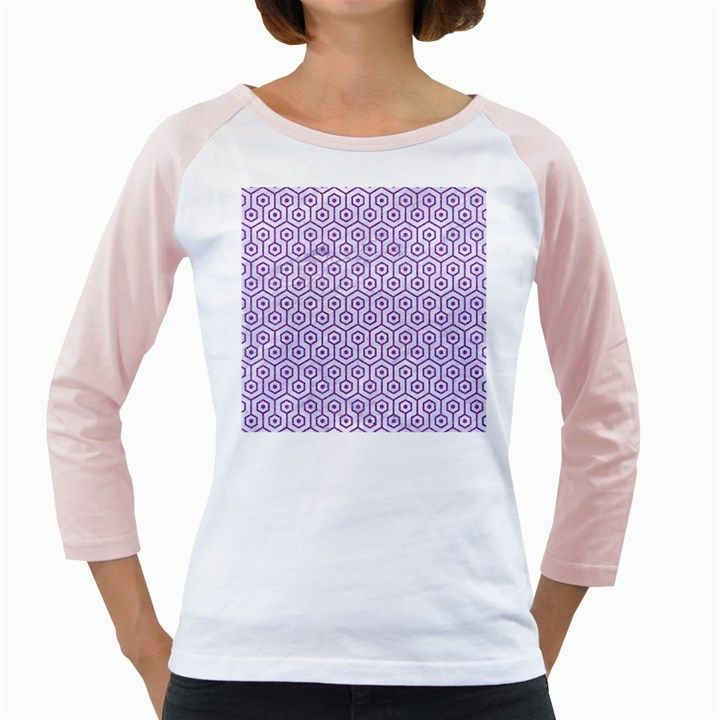 HEXAGON1 WHITE MARBLE & PURPLE DENIM (R) Girly Raglans