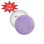 HEXAGON1 WHITE MARBLE & PURPLE DENIM (R) 1.75  Buttons (100 pack)