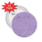HEXAGON1 WHITE MARBLE & PURPLE DENIM (R) 2.25  Buttons (10 pack)
