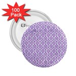 HEXAGON1 WHITE MARBLE & PURPLE DENIM (R) 2.25  Buttons (100 pack)
