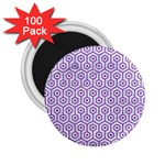 HEXAGON1 WHITE MARBLE & PURPLE DENIM (R) 2.25  Magnets (100 pack)  Front