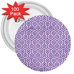 HEXAGON1 WHITE MARBLE & PURPLE DENIM (R) 3  Buttons (100 pack)