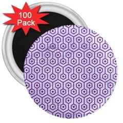 HEXAGON1 WHITE MARBLE & PURPLE DENIM (R) 3  Magnets (100 pack)