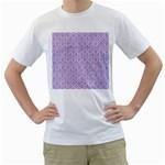 HEXAGON1 WHITE MARBLE & PURPLE DENIM (R) Men s T-Shirt (White) (Two Sided)