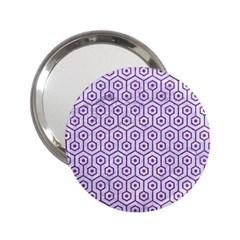 Hexagon1 White Marble & Purple Denim (r) 2 25  Handbag Mirrors