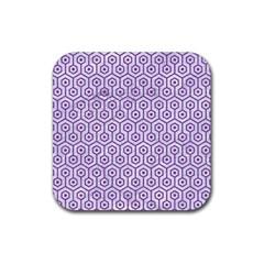 Hexagon1 White Marble & Purple Denim (r) Rubber Square Coaster (4 Pack)