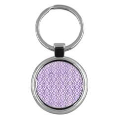Hexagon1 White Marble & Purple Denim (r) Key Chains (round)
