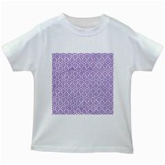 HEXAGON1 WHITE MARBLE & PURPLE DENIM (R) Kids White T-Shirts