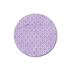 Hexagon1 White Marble & Purple Denim (r) Magnet 3  (round)