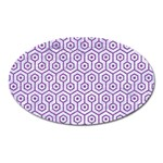 HEXAGON1 WHITE MARBLE & PURPLE DENIM (R) Oval Magnet Front