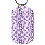 HEXAGON1 WHITE MARBLE & PURPLE DENIM (R) Dog Tag (One Side) Front