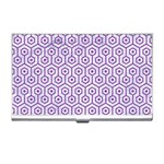 HEXAGON1 WHITE MARBLE & PURPLE DENIM (R) Business Card Holders