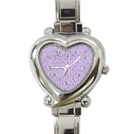 HEXAGON1 WHITE MARBLE & PURPLE DENIM (R) Heart Italian Charm Watch