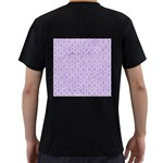 HEXAGON1 WHITE MARBLE & PURPLE DENIM (R) Men s T-Shirt (Black) (Two Sided) Back