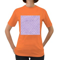Hexagon1 White Marble & Purple Denim (r) Women s Dark T Shirt