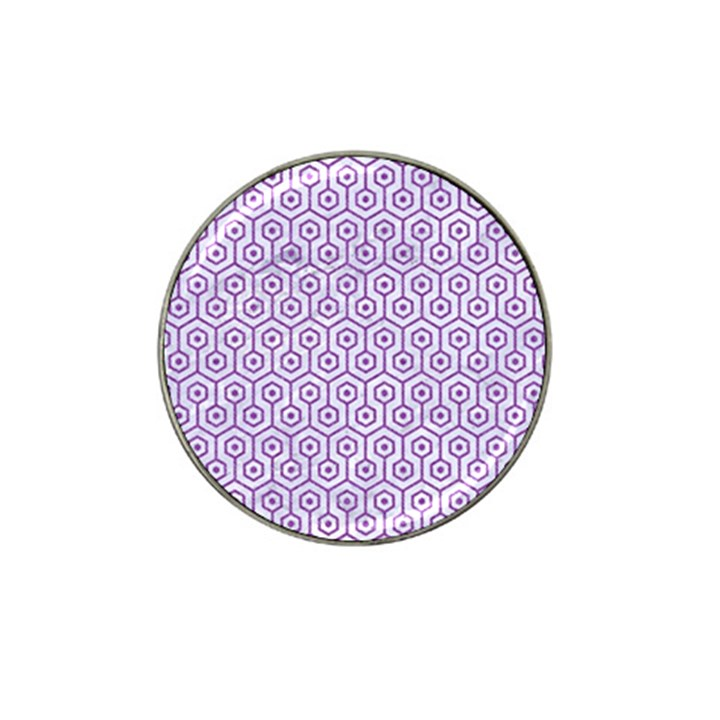 HEXAGON1 WHITE MARBLE & PURPLE DENIM (R) Hat Clip Ball Marker