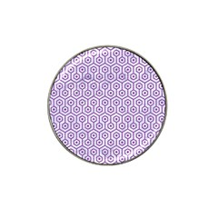 Hexagon1 White Marble & Purple Denim (r) Hat Clip Ball Marker (4 Pack)