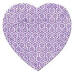 HEXAGON1 WHITE MARBLE & PURPLE DENIM (R) Jigsaw Puzzle (Heart) Front