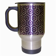 Hexagon1 White Marble & Purple Denim (r) Travel Mug (silver Gray)