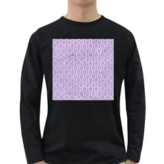 Hexagon1 White Marble & Purple Denim (r) Long Sleeve Dark T Shirts