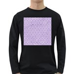 HEXAGON1 WHITE MARBLE & PURPLE DENIM (R) Long Sleeve Dark T-Shirts Front