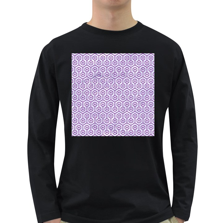 HEXAGON1 WHITE MARBLE & PURPLE DENIM (R) Long Sleeve Dark T-Shirts