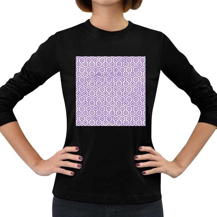 HEXAGON1 WHITE MARBLE & PURPLE DENIM (R) Women s Long Sleeve Dark T-Shirts
