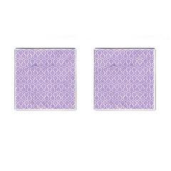 HEXAGON1 WHITE MARBLE & PURPLE DENIM (R) Cufflinks (Square)
