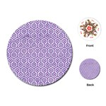 HEXAGON1 WHITE MARBLE & PURPLE DENIM (R) Playing Cards (Round)  Front