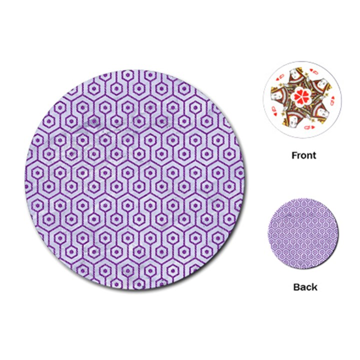HEXAGON1 WHITE MARBLE & PURPLE DENIM (R) Playing Cards (Round)