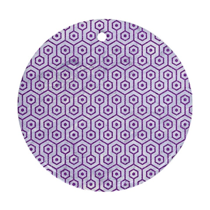 HEXAGON1 WHITE MARBLE & PURPLE DENIM (R) Round Ornament (Two Sides)